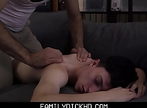 Twink Fake Son And His Fake Cur' Turtle-dove During Massage For Sports Injury
