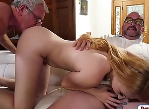 Flaxen-haired college toddler gangbanged by old fellows