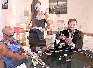 Long-legged poker spoil Tina Kay joins duo guys for XXX hardcore anal threesome