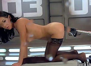 Busty gadgetry milf squirts while dildoed