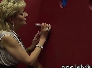 Busty British mature Sprog Sonia visits a gloryhole