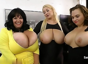 Samantha 38g with two MILF'_s are showing added to incitement their tits