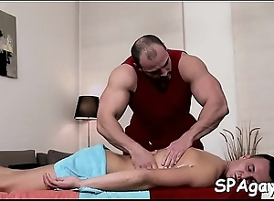 XXX blissful chap is being spooned wildly at near sexy massage