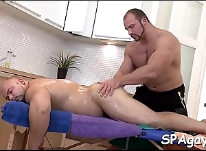 Sexy congest acquires his bent filled anal watercourse explored by masseur