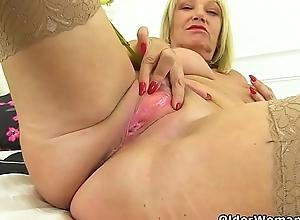 An older woman workings fun fastening 34