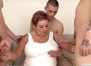 Chubby granny sucks 3 schlongs stranger sizzling youthful boys