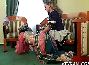 Guy receives walked wide on a rope in some sexy femdom personate