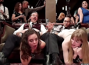 Slaves engulfing at bdsm fuckfest