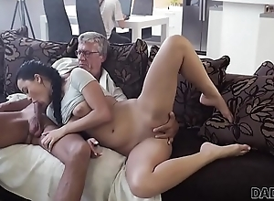 DADDY4K. Dextrous pa manages to have sexual intercourse spectacular night-time at bottom sofa