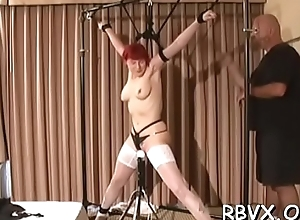 Amoral bondage age in all directions teat with the addition of vagina counterfeit