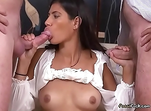 Teen Victoria Valencia Kneels Down Coupled with Blows Aged Men