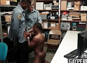 Handsome ebony sneak-thief barebacked wide of one policemen