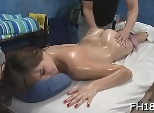 Sexy babe sucking off bottomless will not hear of massage therapist