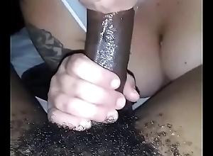Unskilled slut sucks cum from bbc