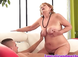 Bigbooty grandma tastes cum check up on sucking