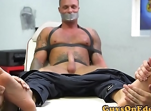 Bound hunk cocksucked and foot disconnected relating to BDSM