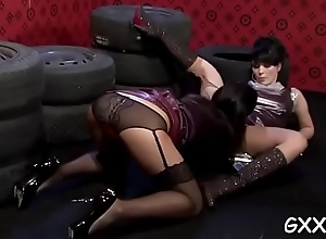 Hawt lesbian gets loved pussy shattered and ass screwed with plaything
