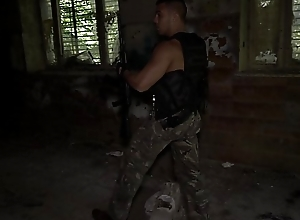 Hot military man masturbating coupled with cumming after patrol in Ultra HD video