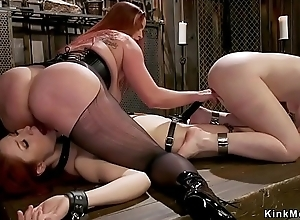 Mistress whipping two heavy irritant lesbians