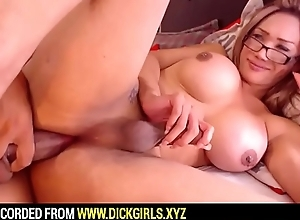 Shemale Apropos Glasses Masturbating and Drilled