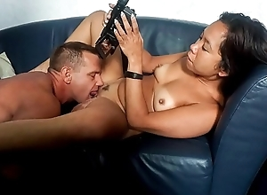 SEXTAPE GERMANY &ndash_ Sexy black-hearted copulates boyfriend&rsquo_s huge blarney exposed to camera