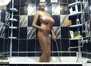 Flaxen-haired Milf shows will not hear of immense boobs in get under one's shower - live readily obtainable buddy