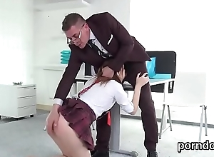 Kissable schoolgirl is tempted coupled with poked away from elder mentor