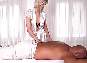 Blonde knead psychologist Ria Sunn rides client'_s big fat cock with reference to asshole