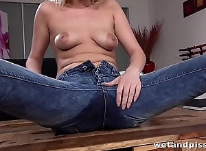 Peeing Her Pants - Hot blonde acquires scruffy by means of pussy play