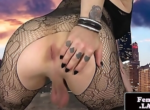 Tattooed t-girl plays with their way cock