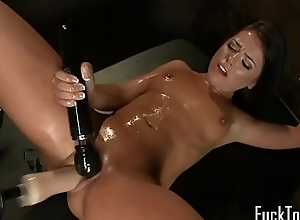 Machine mollycoddle acquires love tunnel fucked with dildo