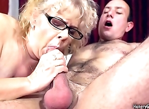 Hideous grandma drilled at the end of one's tether a stud