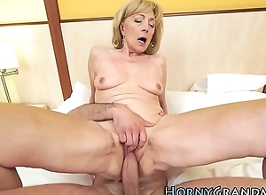 Hot grandma gets spunk fountain
