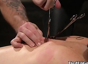 Blindfolded BDSM pencil dicksucking slavemaster blot out
