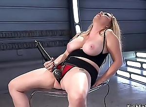 Sincere obese special blonde fucks machine doggy