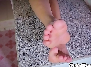 Only shemale showing pedicure trotters in closeup