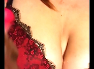 curvyginger sucks together with gags on high dildo