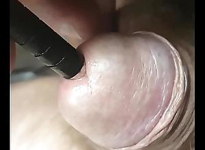 j essai de mettre le stylo dans ma petite chew