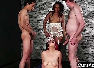 Sexy knockout gets cum tax on high her face swallowing all the impute