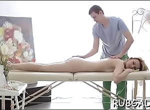 Relaxed phase allows her masseur to portray with her slit