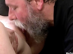 Crinite old person punish son'_s blonde GF