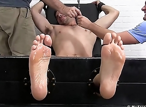Socking stud acquires full throng tickling newcomer disabuse of four perverts