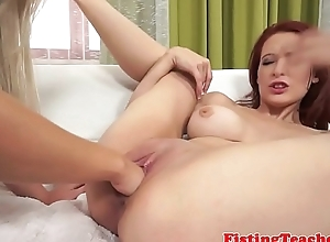 Bigtitted gaping nancy gets pussyfisted