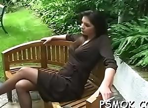 Couple takes turn oraly okay each successive whilst smokin'_