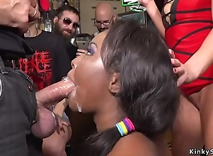 Ebony bbw drilled and disgraced respecting public prohibit