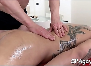 Gay stud is delighting masseur'_s thick male weenie