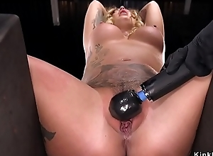 Busty alt blonde slave pussy whipped