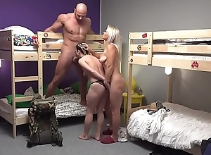 Fake Hostel Petite backbacker pet copulates an flawless coterie in threesome