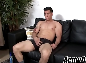 Good looking army dude strips and plays not far from his unchanging learn of