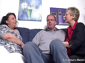 Blind thighed BBW joins up wide mature couple